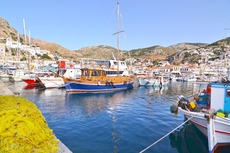 Port at Hydra island Greece stock images