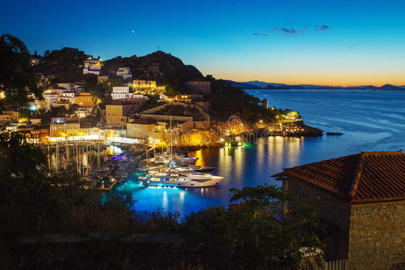 Port at Hydra island. Sunset. Night is coming. Port at Hydra island. Original and charming greek islandÑŽ Sunset. Night is coming royalty free stock photo