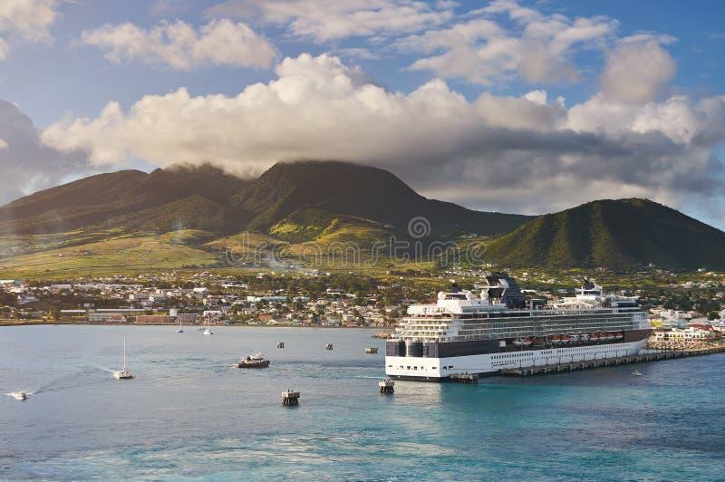 Port i St Kitts för karibisk ö royaltyfria bilder