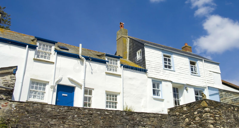 Port isaac. Cottages port isaac cornwall england uk stock image