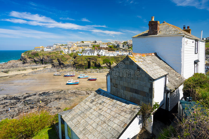 Port Isaac Cornwall England. Overlooking the harbour at the pretty fishing village of Port Isaac on the North Cornwall coast, England UK Europe royalty free stock photography