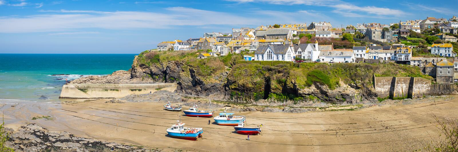 Port Isaac Cornwall England. Overlooking the harbour at the pretty fishing village of Port Isaac on the North Cornwall coast, England UK Europe stock image