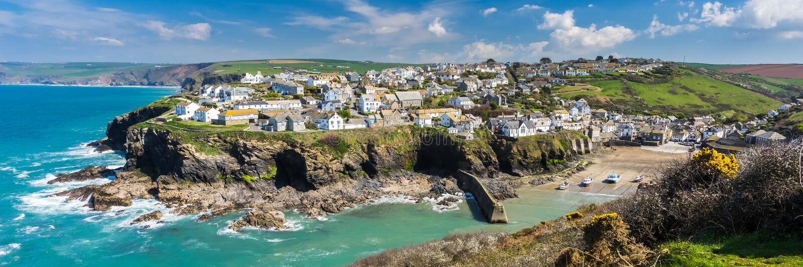 Port Isaac Cornwall England. Overlooking the harbour at the pretty fishing village of Port Isaac on the North Cornwall coast, England UK Europe stock photo