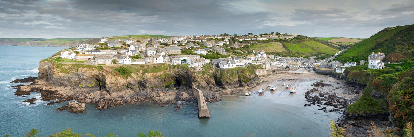 Port Isaac. Panoramic view of the picturesque fishing village Port Isaac in northern Cornwall stock photography