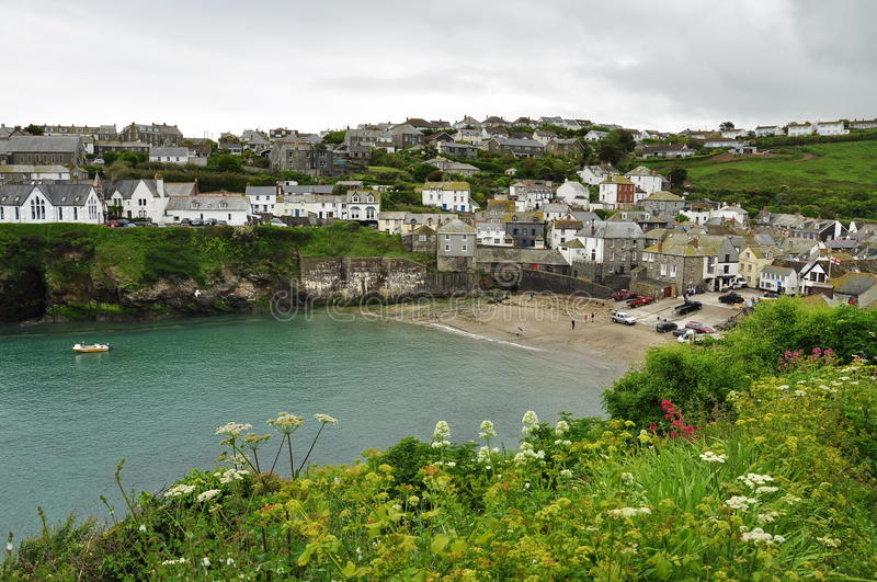Port Isaac village, Cornwall, England, UK. Port Isaac: typical Cornish village houses and harbour, North Cornwall, England, Britain royalty free stock image