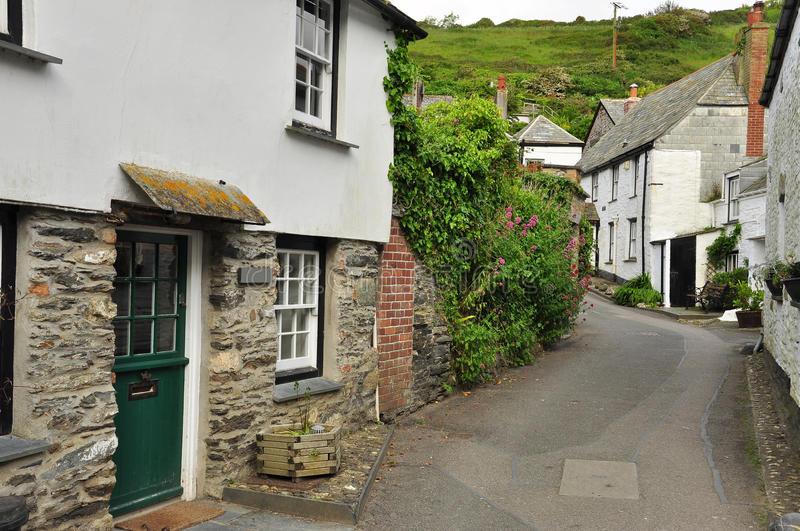 Port Isaac village, Cornwall, England, UK. Port Isaac: typical Cornish village lane, North Cornwall, England, Britain royalty free stock photos