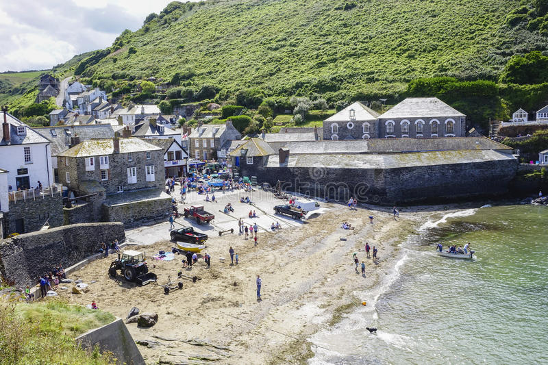 Port Issac beach on a hot sunny summers afternoon. In August with holidaymakers enjoying the warm sun royalty free stock images