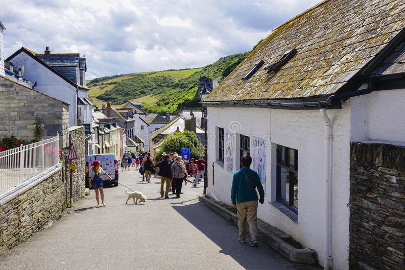 Port Issac hot sunny summers afternoon. In August with holiday makers enjoying the sun stock photo