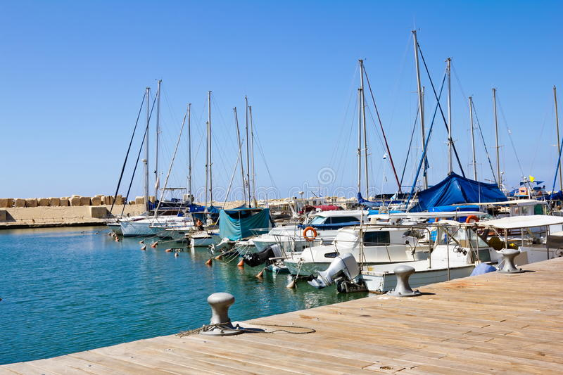 The port at Jaffa in Israel. On a sunny day royalty free stock images