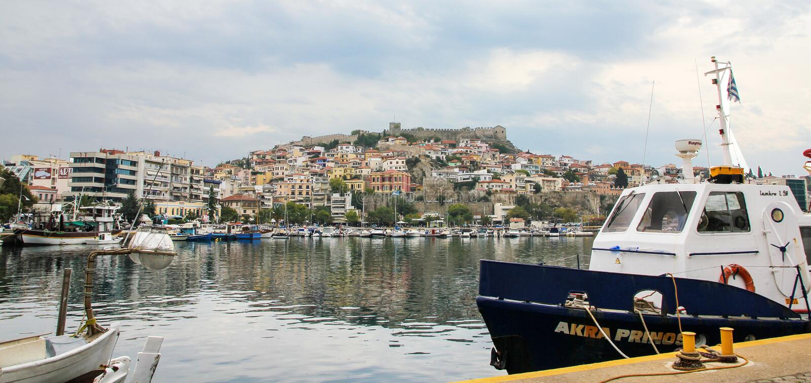 Port in Kavala, Greece stock photography