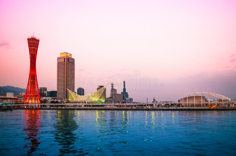 Port of Kobe, Kobe Tower, Kobe Skyline.  royalty free stock image
