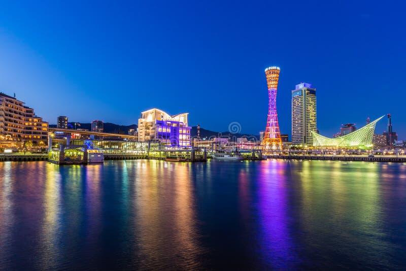Port of Kobe skyline at night in Kansai, Japan.  royalty free stock images