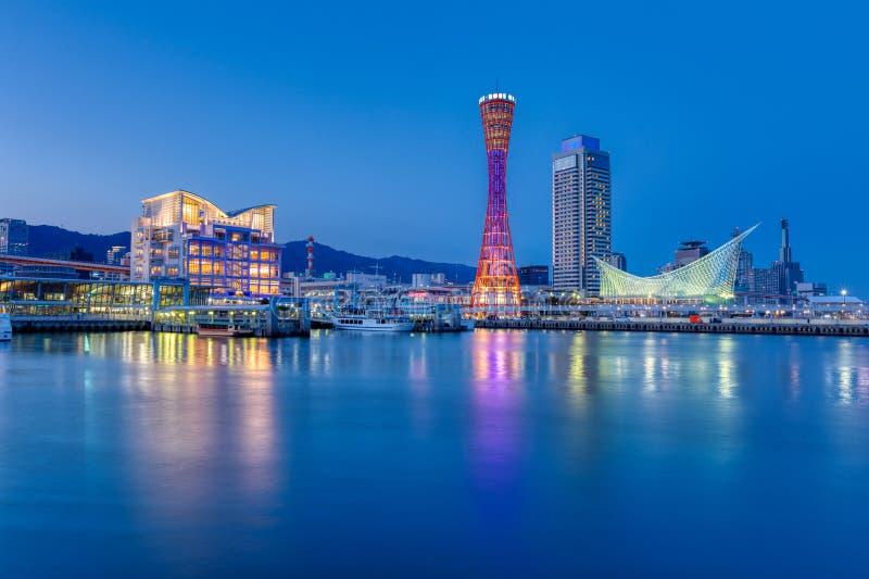 Port of Kobe skyline at night in Kansai, Japan - Panoramic view. Port of Kobe skyline at night in Kansai, Japan. - Panoramic view stock image
