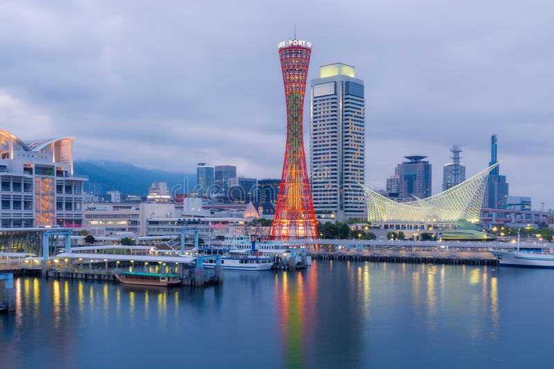 Port of Kobe Tower. And skyline in sunset, Kansai, Japan stock photo