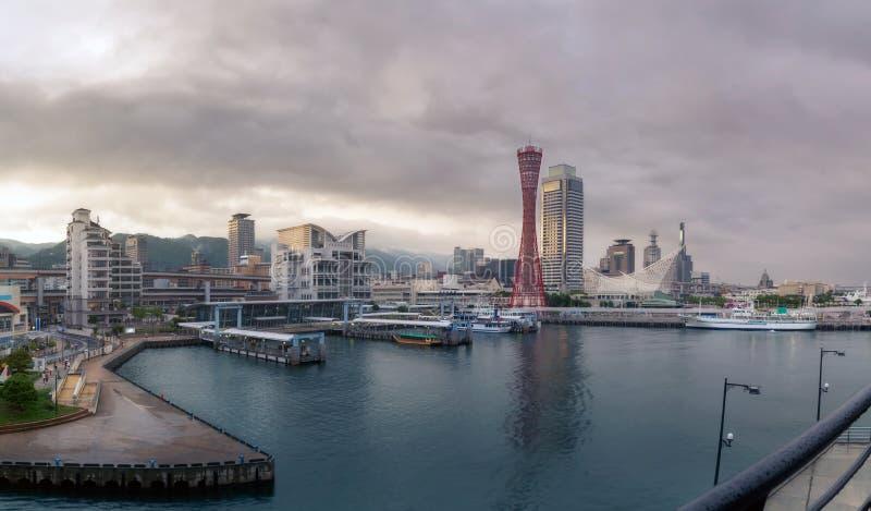 Port of Kobe Tower. And skyline in sunset panorama view, Kansai, Japan royalty free stock photo