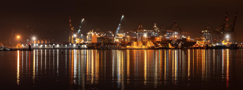 Port of La Spezia at night - Liguria Italy royalty free stock photos