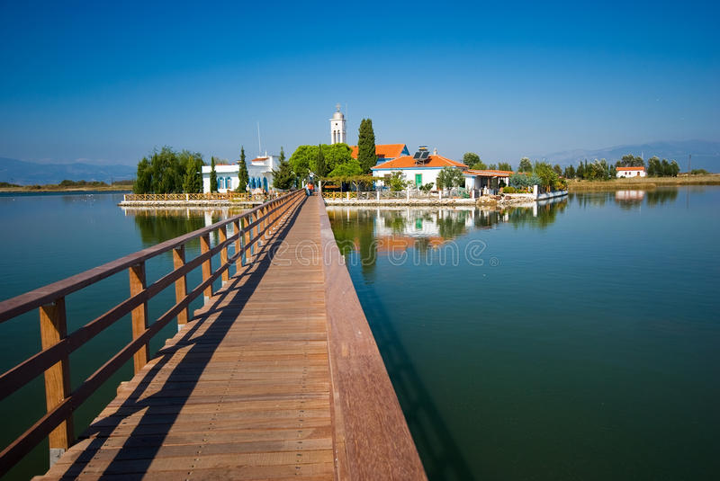 Port Lagos area at Thrace, Greece. Blue sky and bright sun stock photo