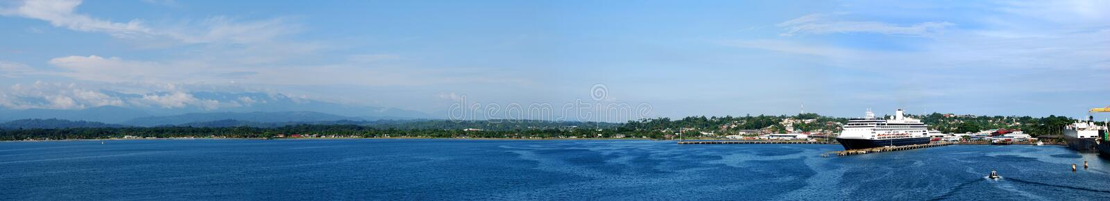 Port Limon. The panoramic view of a port and the city Limon, Costa Rica royalty free stock image