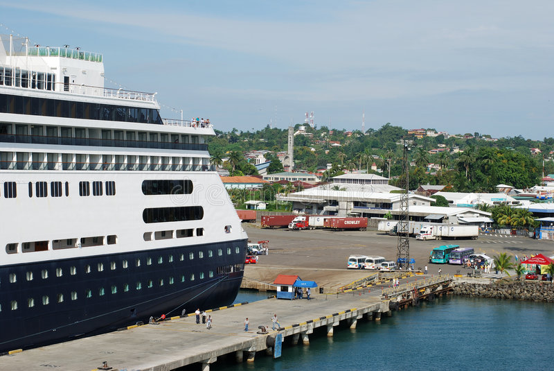 Port Limon. The cruise liner anchored in Port Limon, Costa Rica stock photography
