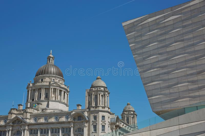 Port of Liverpool Building or Dock Office in Pier Head, along the Liverpool`s waterfront, England, United Kingdom.  royalty free stock photo