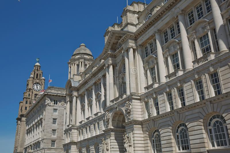 Port of Liverpool Building or Dock Office in Pier Head, along the Liverpool`s waterfront, England, United Kingdom.  royalty free stock images