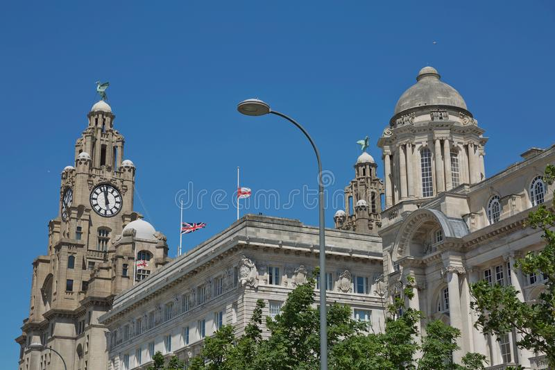 Port of Liverpool Building or Dock Office in Pier Head, along the Liverpool`s waterfront, England, United Kingdom.  stock image