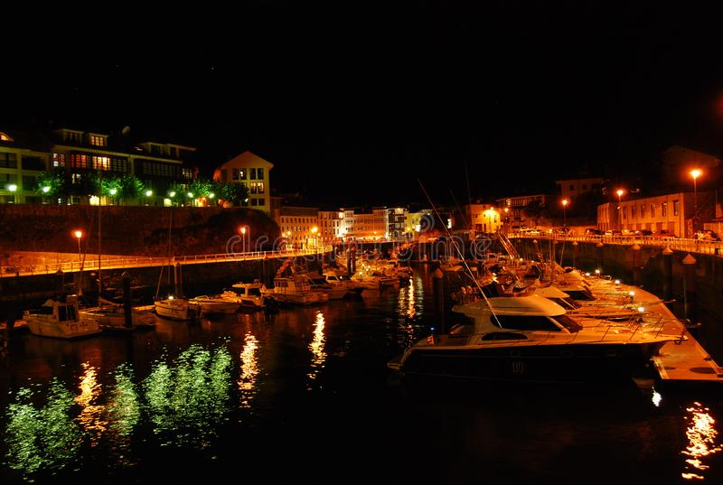 Port of Llanes in Asturias. At night in one of the most beautiful regions of northern Spain stock images