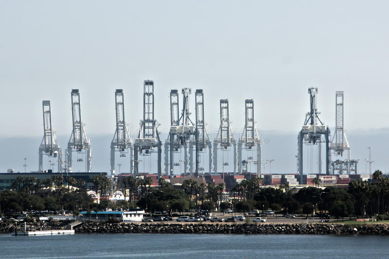Port of Long Beach. Shipping port at Long Beach, California royalty free stock photos