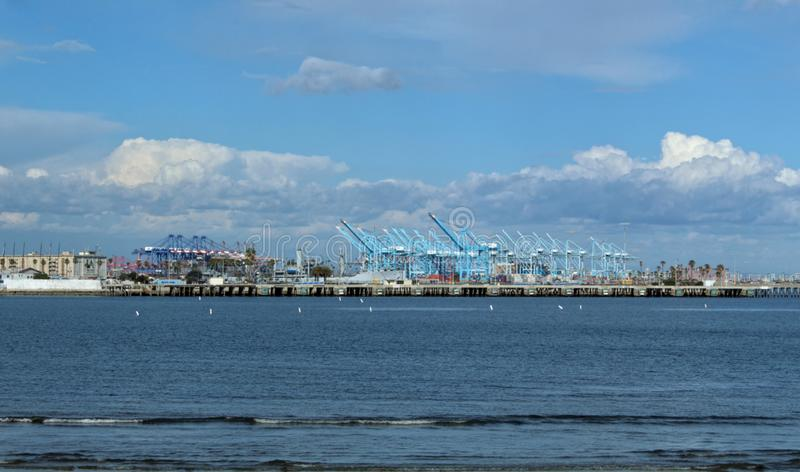 The Port of Los Angeles as Seen from Cabrillo Beach, California stock photo