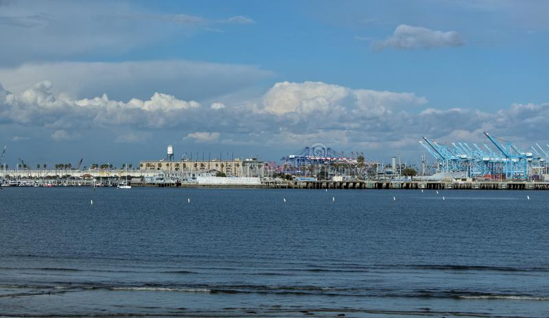 The Port of Los Angeles as Seen from Cabrillo Beach, California stock image
