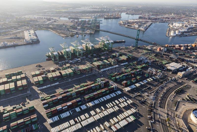 Port Los Angeles San Pedro terenu ładunku Facilites antena obraz royalty free