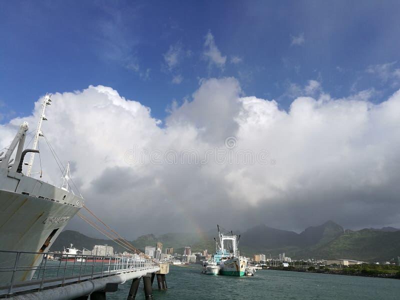 Port-Louis, άποψη λιμένων του Μαυρίκιου στοκ φωτογραφία με δικαίωμα ελεύθερης χρήσης