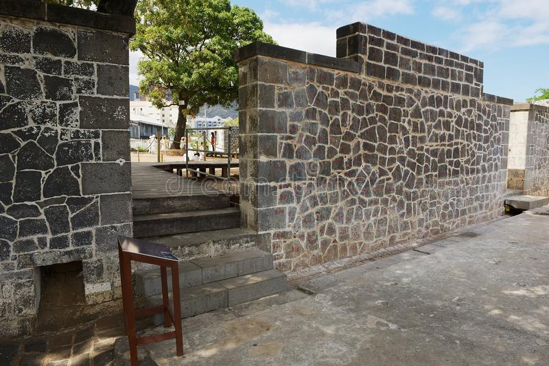 Aapravasi Ghat, the historic Immigration Depot colonial building complex in Port Louis, Mauritius. Port Louis, Mauritius - DECEMBER 01, 2012: Aapravasi Ghat royalty free stock photo