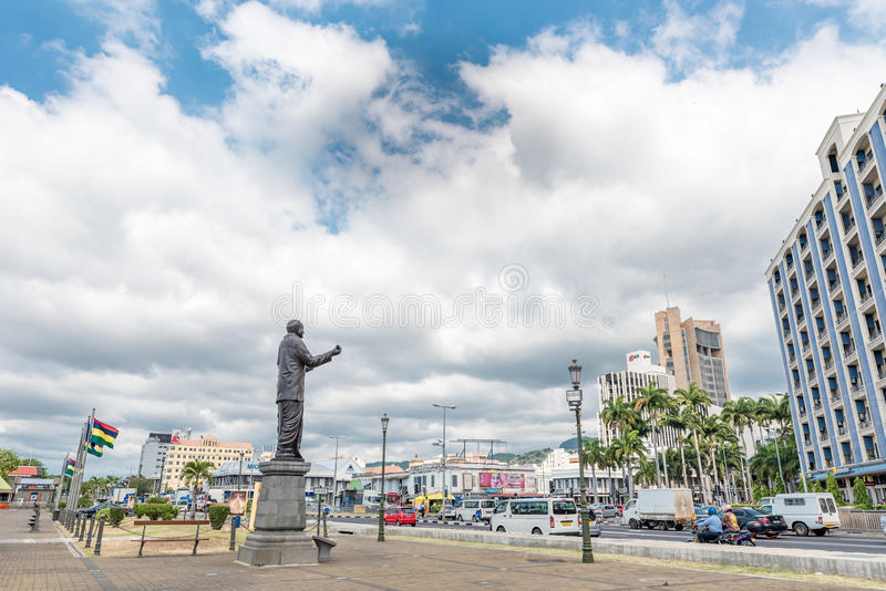 PORT LOUIS, MAURITIUS - OCTOBER 03, 2015: Statue of sir Seewoosagur Ramgoolam in Port Louis Waterfront , Mauritius. stock images
