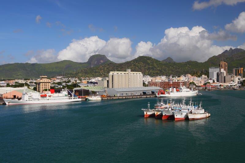 Port Louis - puerto principal de Mauricio foto de archivo libre de regalías