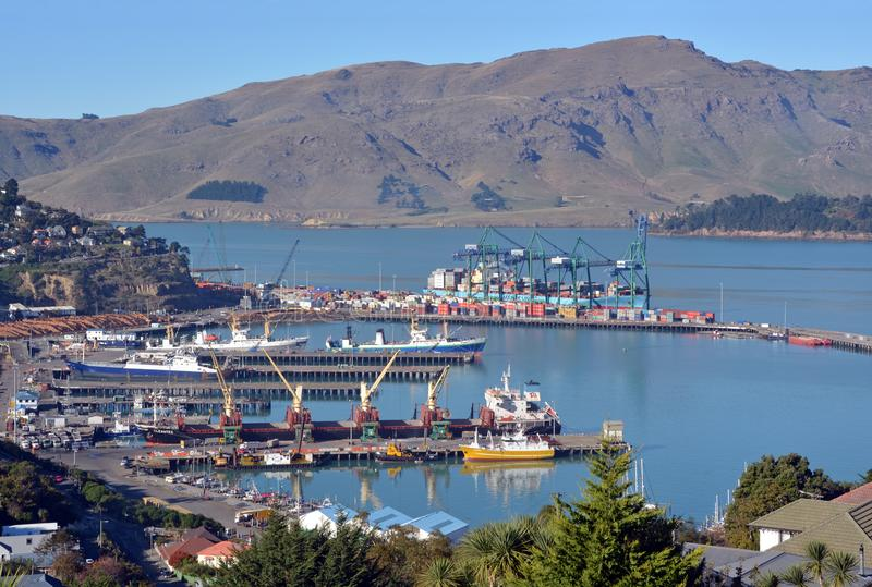 The Port of Lyttelton on an Autumn Morning royalty free stock image