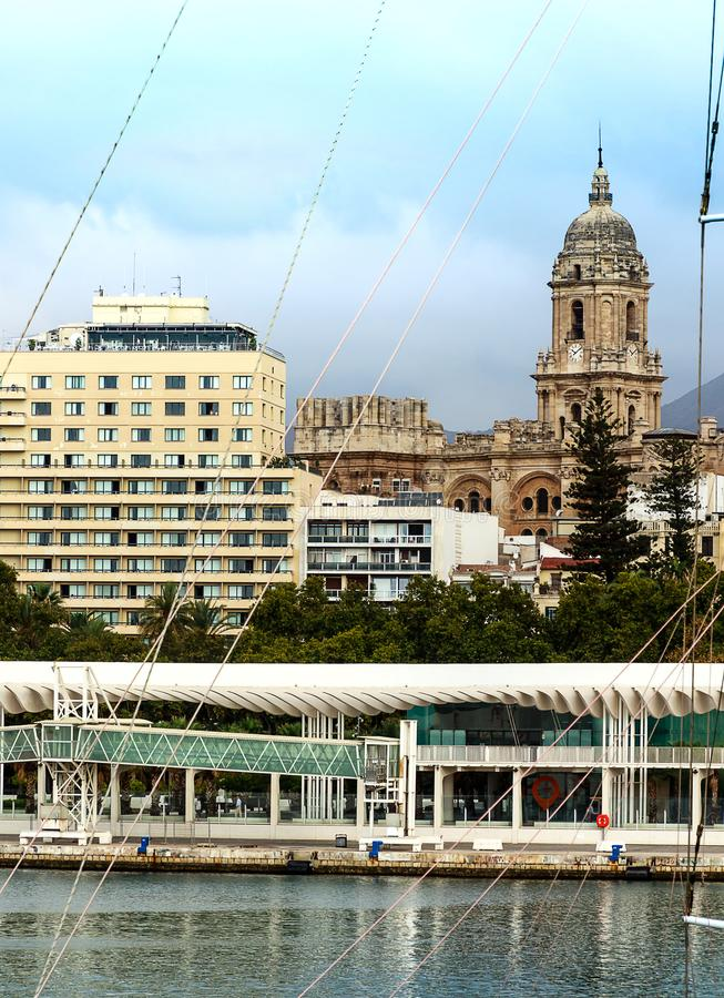Port of Malaga with cathedral in the background. Costa del Sol, Spain. Port of Malaga with cathedral in the background. Costa del Sol, Andalusia, Spain stock images