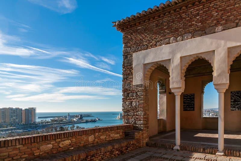 Port Malaga od Alcazaba kasztelu obraz royalty free