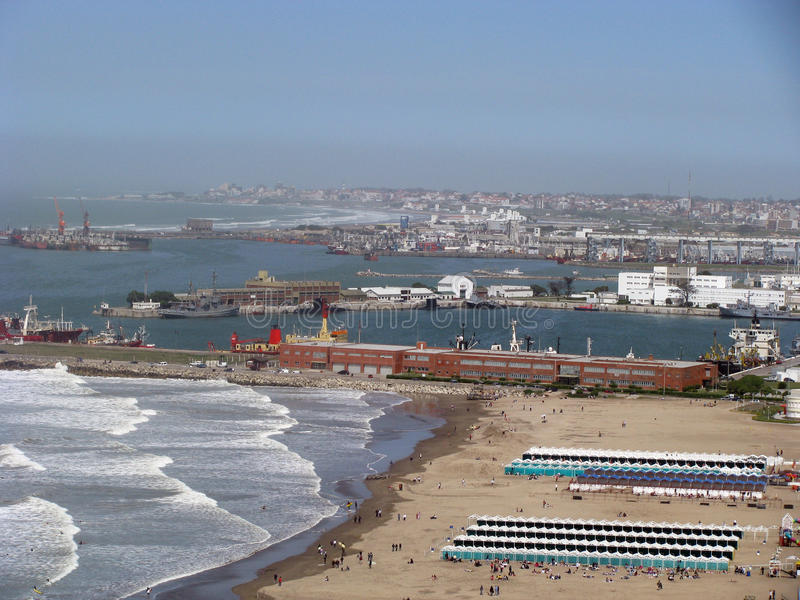 Port of Mar del Plata. General view of the Port of Mar del Plata, Buenos Aires, Argentina next to Long Beach stock image