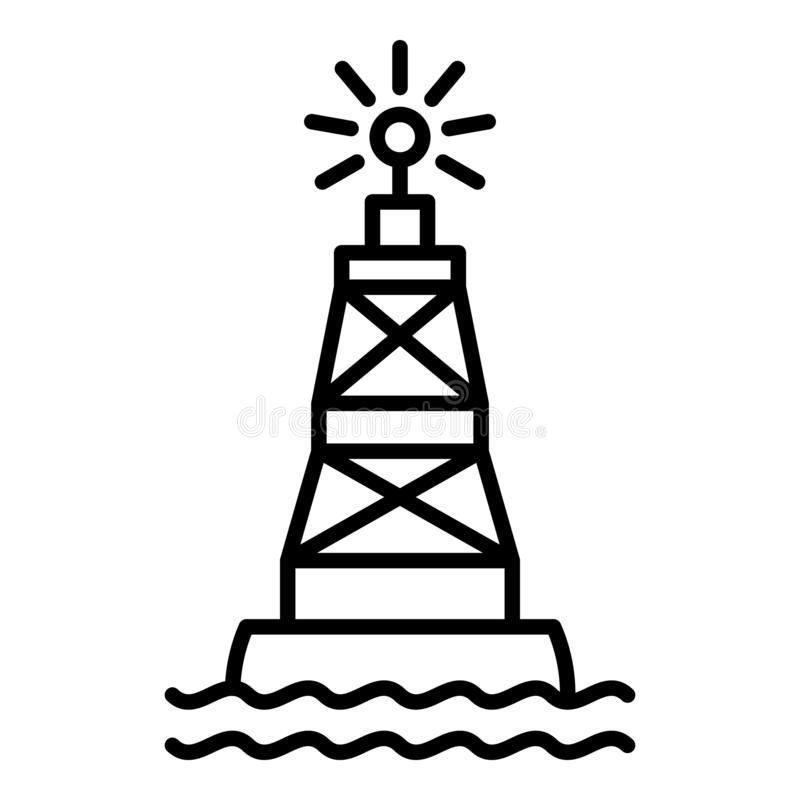 Port marine buoy icon, outline style stock illustration