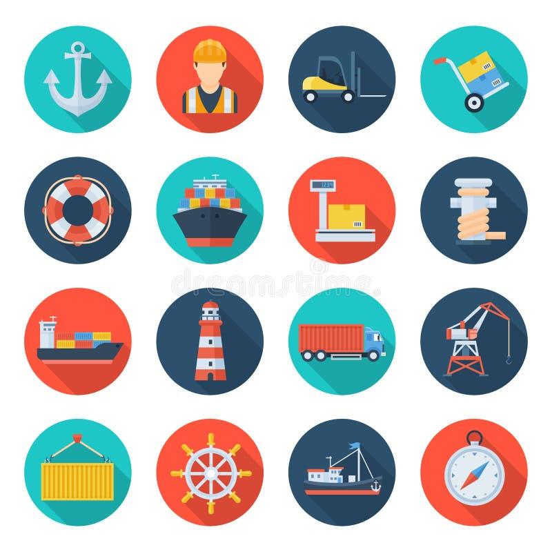 Port maritime de cargaison illustration de vecteur