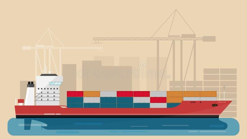 Port maritime de cargaison avec le bateau de fret de cargaison et héberger les grues et les éléments gauches de ville Illustratio illustration de vecteur