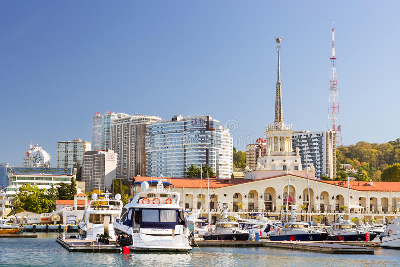Port maritime de Sotchi, Russie images stock