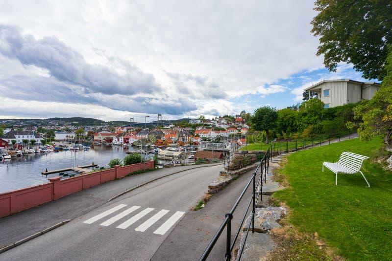 Port maritime local en Norvège images libres de droits