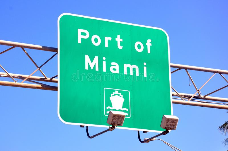 Port of Miami direction. Port of Miami road sign at the Biscane Boulevard, Miami stock images