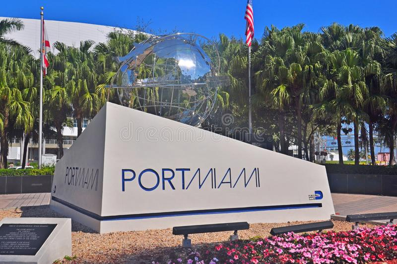 Port of Miami monument. At the port entrance at the Biscane Boulevard, Miami royalty free stock photo