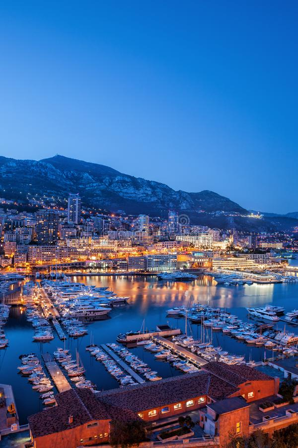 Port of Monaco in the Evening. Monaco in the evening, view above port to Monte Carlo royalty free stock images