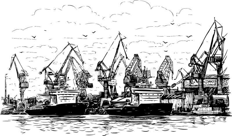 Port morski ilustracji