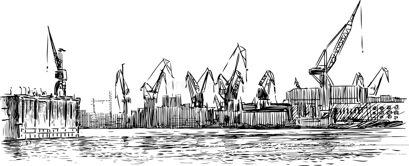 Port morski ilustracja wektor