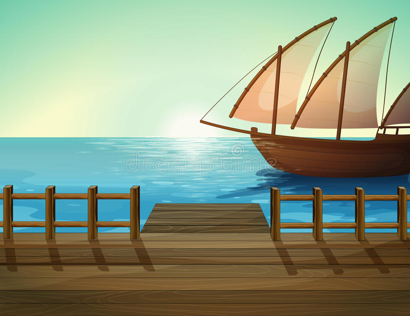 Port morski i statek ilustracji